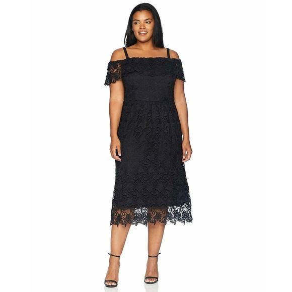 Nwt City Chic Black Lace Midi Dress 18